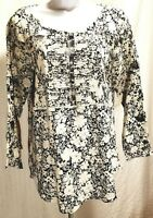 Lucky Brand Long Sleeve White & Blue Boho Peasant Top Tunic Shirt Size S Small