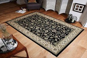 Traditional Classic Oriental Design Quality Black Beige Runner 68x235cm 30% OFF