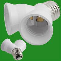 E27 to 2x E27; 2 into 1; Screw Light Bulb Lamp Socket Fitting Adaptor, Splitter