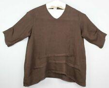 MATCH POINT Womens Linen Oversized Lagenlook Tunic Top Size M Brown EUC #14949