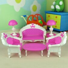 7Pcs Toys Barbie Doll Sofa Chair Couch Desk Lamp Furniture Set Disassembled JL