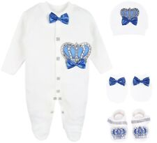 Lilax Baby Boy Newborn Crown Jewels Layette 4 Piece Gift Set 0-3 Months Royal...
