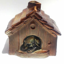 Antique Ceramic Coin Bank: Dog in Doghouse (Medium)