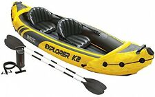Intex Explorer K2 Kayak, 2-Person Inflatable Canoe Aluminum Paddle Oars Pump Set