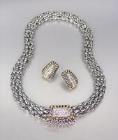 GORGEOUS Designer Pave Crystals Silver Gold Barrel Mesh Necklace Earrings Set