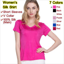 Women's Silk Blouse,Loose Wear&Short Sleeves&V Collar,Mulberry Silk,女士真丝衬衫