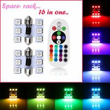 16 COLORS RGB Bright LED 31- 32mm Car Roof light / doom Light with REMOTE- 2 pc