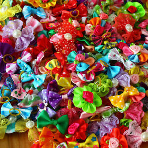 100x Cat Hair Bows Dog Topknot Bows Pet Small Dog Puppy Hair Flower Peals new