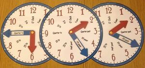 Tell the time Clock Teaching Aids (set of 3)