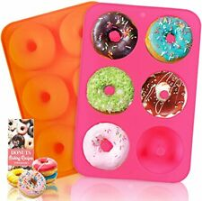 New listing Silicone Donut Pan, 2pcs Non-Stick Mold, Silicone Donut Mold for 6 Full-Size