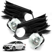 2017 Fog Lamp Spot Light Kit Set + Cover Black Fit Toyota Yaris Vios Sedan 4 Drs