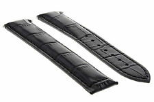 LEATHER STRAP WATCH BAND DEPLOYMENT CLASP FOR 20MM OMEGA SPEEDMASTER BLACK #19