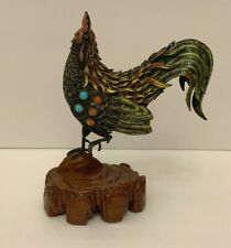 Antique Chinese Silver Cloisonne Rooster Statue with Turquoise and Coral Stones