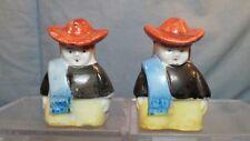 """Vintage Miniature Spanish Cowboys Salt & Pepper Shakers JAPAN 2"""" tall"""