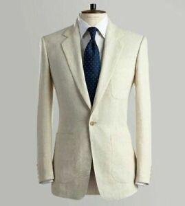 Ivory Linen Groom Tuxedos Formal Wedding Suit Summer Men Suit Blazer Custom Made
