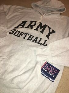 VTG MV SPORT West Point Army Softball Sweatshirt HOODIE REVERSE WEAVE USA XL NWT