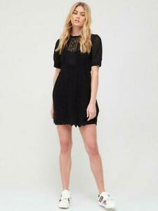 River Island Pretty Stitch Tea Dress - Black BNWT Size 14