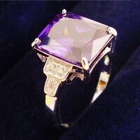 Womens White Gold Plated Zirconia Engagement Rings Purple Band Wedding Romantic