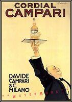 Cordial Campari 1920 Vintage Poster Print Retro Style Italian Liquor Decor Art