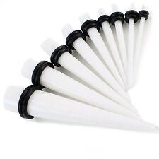 White Acrylic Taper, Ear Stretcher 8mm