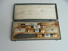 Antique French Enamel Desk Set~Wax Seal,Dip Pen,Letter Opener,Paper Cutter c1850