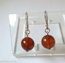 Vintage Sterling Silver Earrings Cognac Baltic Amber  Round beads   made USSR