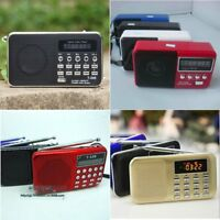 Mini Receiver LCD Digital FM AM Radio Speaker USB Micro SD TF Card Mp3 Player GB