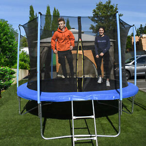 ALEKO 8 Foot Trampoline With Safety Net and Ladder, Black and Blue