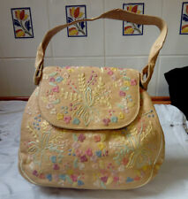 VINTAGE RETRO STYLE BAG, HAND EMBROIDERED BAG, SATIN LINED, VGC