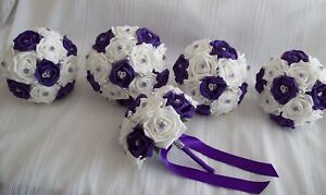 Wedding flowers Cadbury Purple & White rose Bouquet Posy package *5 Bouquets*