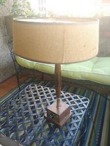 Mid Century Modern Sleek Table Lamp Eames Era Wood/Teak & Brass Control Research