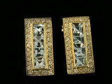Art-Deco Genuine 9ct Yellow Gold NATURAL Aquamarine & Diamond Stud Earrings