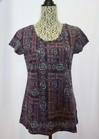 NEW Style & Co Women's  Cotton Printed T-Shirt Top Navy Multi Size XS or S  (S2)