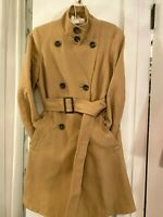 Talbots Double Breasted Belted Trench Coat jacket Size 10? tan twill