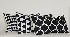"""Oblong Cushion Covers Black White Rectangle Geometric Triangles Moroccan 12 x18"""""""