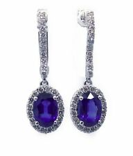18Carat White Gold Natural Sapphire & Diamond Cluster Drop Earrings 2cms 1.50cts
