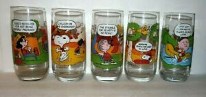 MCDONALDS CAMP SNOOPY GLASSES COMPLETE SET OF 5 NOT FADED EXCELLENT CONDITION