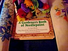 Lot Vintage Needlepoint Items - Pattern Book, 2 Canvases, Wool Yarn Assortment