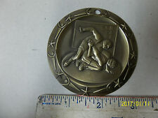 """3"""" LARGE Gold Wrestling medal, with engraving, w/ R, W & Blue lanyard"""