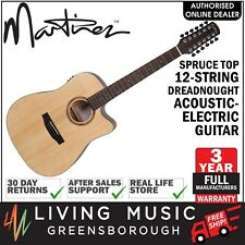 NEW Martinez Spruce Top 12-String Acoustic-Electric Dreadnought Guitar (Satin)