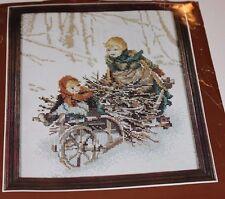 Lanarte Children in wheelbarrow Snow counted Cross Stitch kit 33466 DMC floss