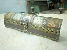 Vintage Collectible Wooden old Handcrafted Brass & Matel Work Pen Box,