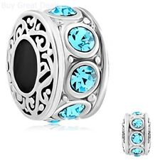 Filigree Aquamarine Blue Crystal Birthstone Bead Charms Bracelet Fashion