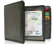 Genuine Leather Bifold Mens Wallet With Middle Flap ID Window RFID Blocking