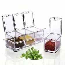 4 Compartment Condiment Dispenser Jars With spoons Spice Container