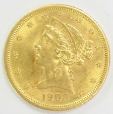 1908 US Mint $5 Half Eagle Liberty Head Gold Coin