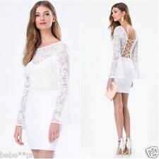NWT bebe white open back lace up v neck long sleeve top dress party M medium 6 8