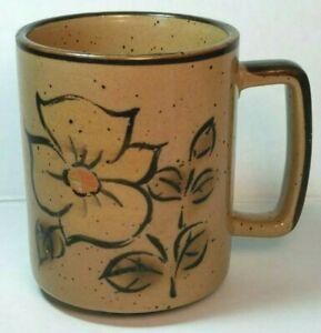 Otagiri Stoneware Mug Floral Design, Speckled Coffee Cup Vintage Retro Decor