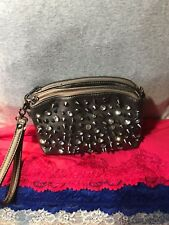 Handbag MMS Gunmetal Man Made Rivets & Crystal Purse Clutch Zip Zip Wristlet