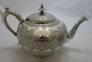 Superb Antique Victorian Scottish Sterling silver teapot, 1885, 610g